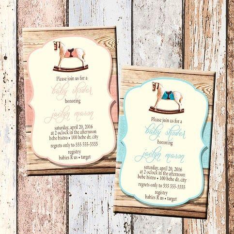 Rockin' Horse Baby Shower Invitation @sylkascreativegifts.  www.sylkascreativegifts.com  #babyshower #babygirl #baby #partytheme #babyshop #nofilter #babyshowerinvitations #babyshowerideas #invitation #horse #rockinhorse #rockinghorse