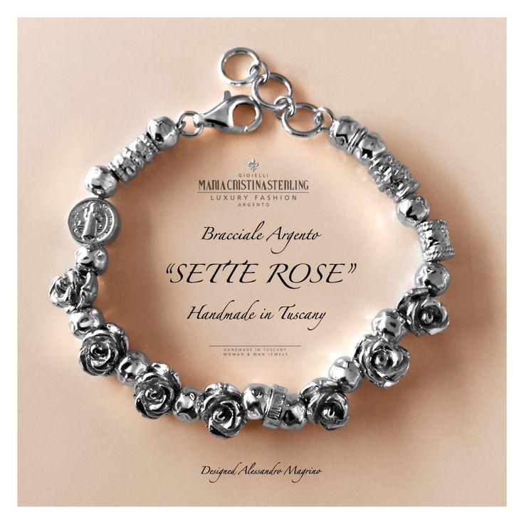 Maria Cristina Sterling bracciale sette rose argento made in italy designed Alessandro margino http://shop.mariacristinasterling.it