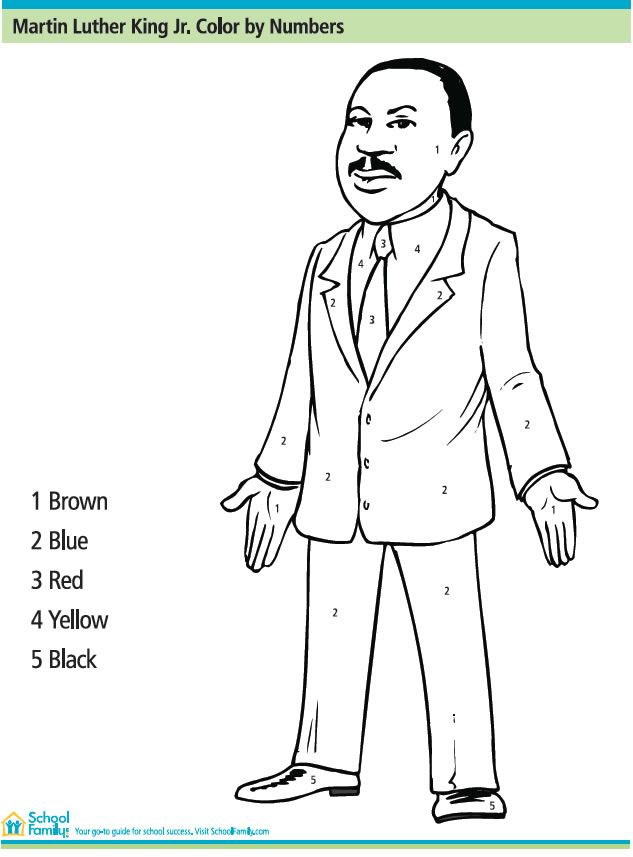 Martin Luther King Jr Color By Number : Printables for Kids – free word search puzzles, coloring pages, and other activities
