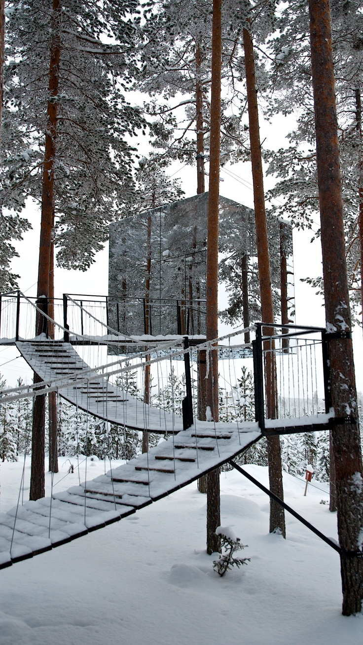 Its snowing on the magical Tree Hotel in Harads, Norrbotten.  www.lulea-swedishlapland.com