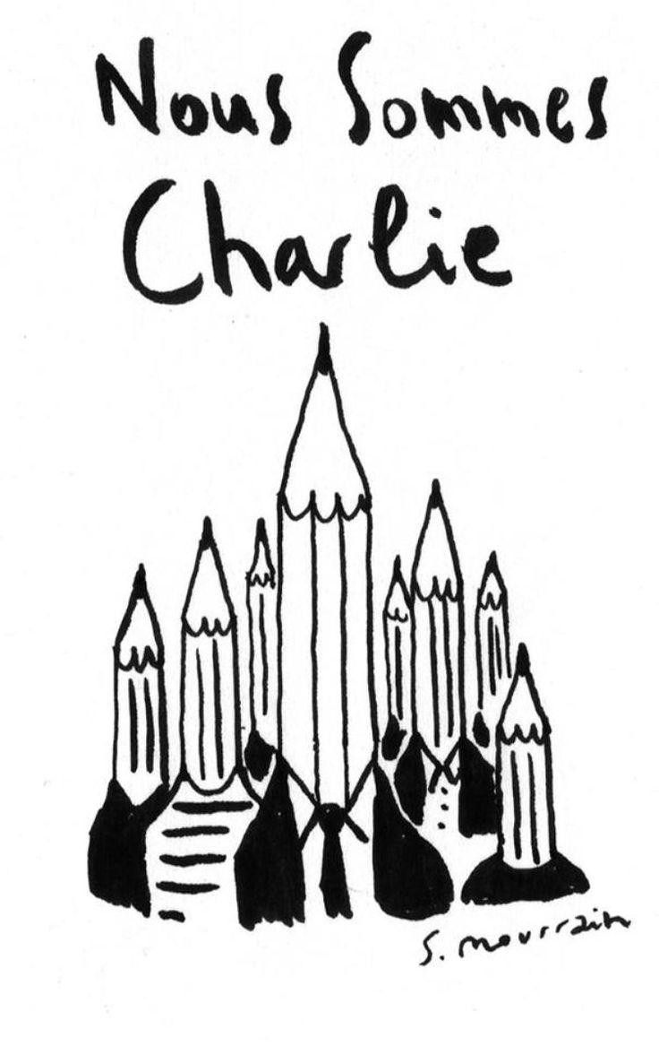 Dessin pour Charlie de Sébastien Mourrain  http://www.liberation.fr/societe/2015/01/07/l-hommage-des-dessinateurs-a-charlie_1175567
