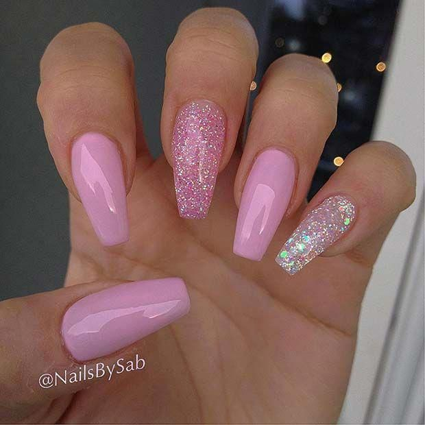 Pretty Pink Glitter Coffin Nails Beautifulnails Pink Glitter Nails Instagram Nails Pink Nails