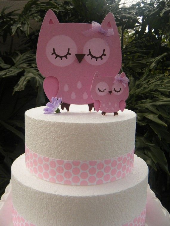 Mommy and Baby Owl CAKE TOPPERS in Pinks and Light by PartyHoppers, $15.00