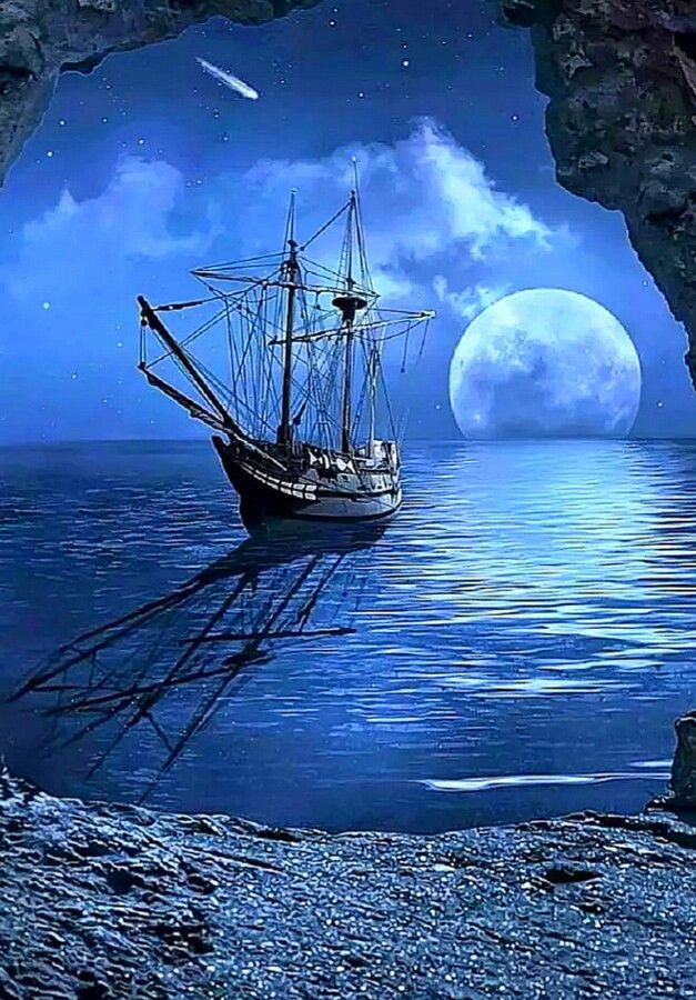 картинки на телефон океан с луной и кораблями дверь это