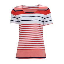 Pamela B Coral Stripe Top