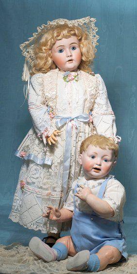 LARGE KESTNER MOLD 142 GERMAN BISQUE CHILD DOLL.