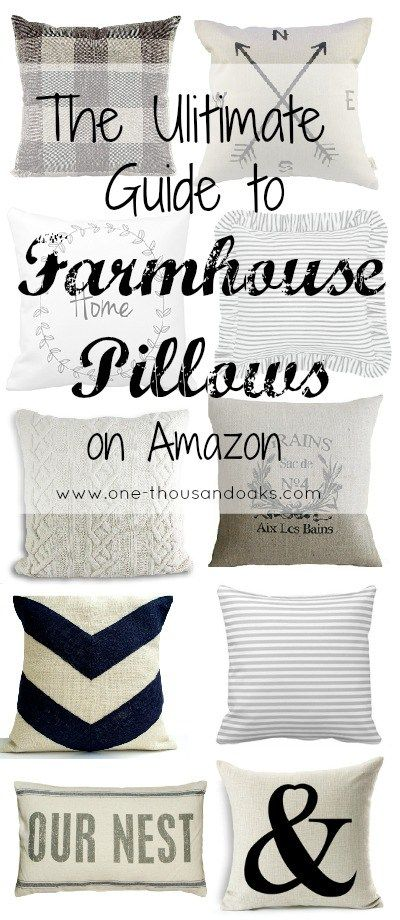 I love this Ultimate guide of farmhouse pillows on Amazon by One Thousand Oaks. So many adorable pillows! @onethousandoaks #farmhouse #throwpillows #pillows