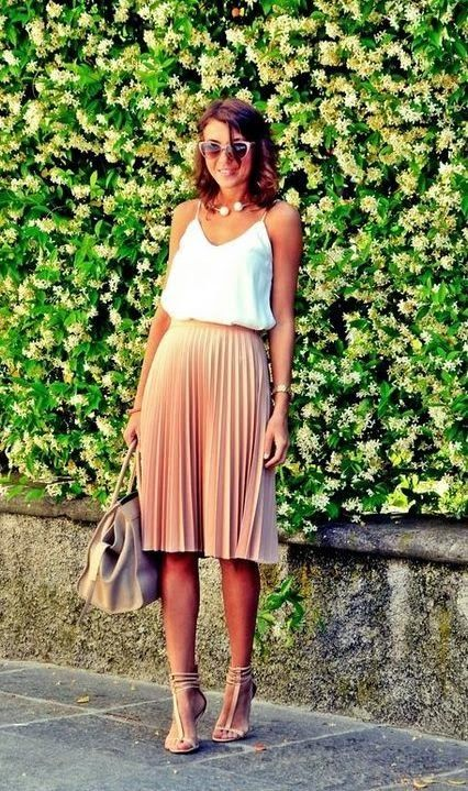 Summe trends   White cami, blish pleated midi skirt, strapped heels and a handbag