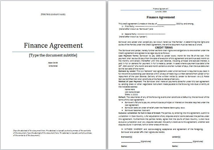 finance agreement template at worddoxorg Microsoft Templates - credit agreement