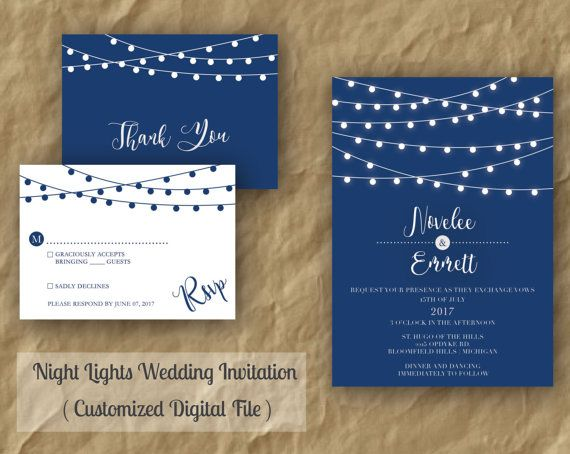 String Lights Wedding Invitation Modern Wedding by HelloAADesign
