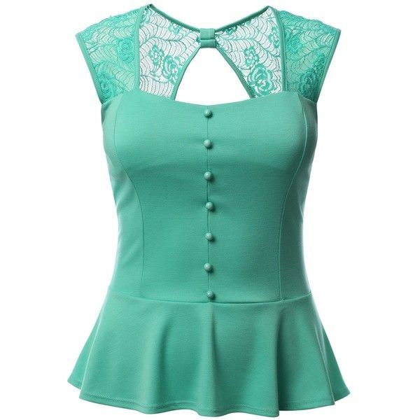 J.TOMSON PLUS Womens Peplum Top Plus Size (57 BRL) ❤ liked on Polyvore featuring…