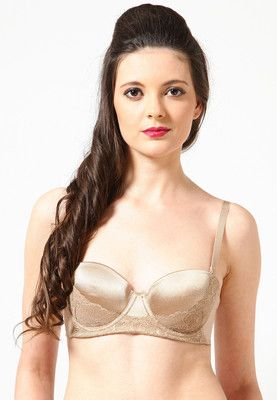 Golden 'Balconette Bra' for women from Scandale. Made from polyamide blend, it comes in comfort fit.
