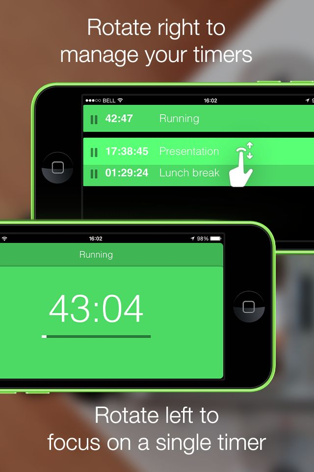 Timeless Timer: Rotate right to manage your timers. Rotate left to focus on a single timer. http://timeless-app.com