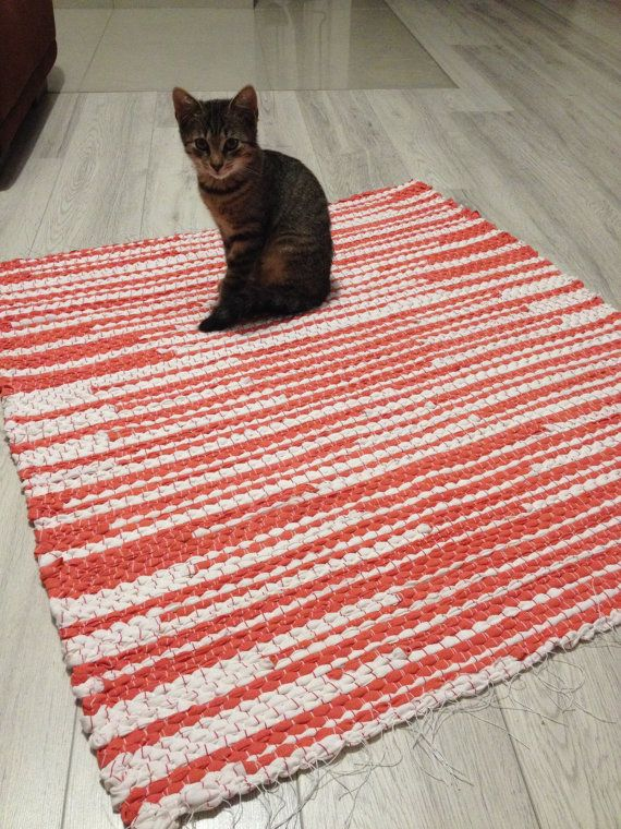 Woven Rug/Large Rag Rug/loom woven rag rugs/shaggy rug/recycled rugs/Handmade woven Rug/Colorful Scraps/Hand Woven Chindi/Rag Rug/Red…