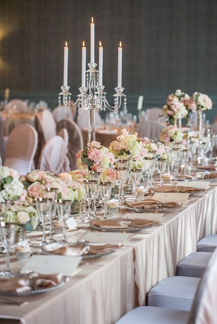 Crystal candelabras elegant & sophisticated wedding tablescape