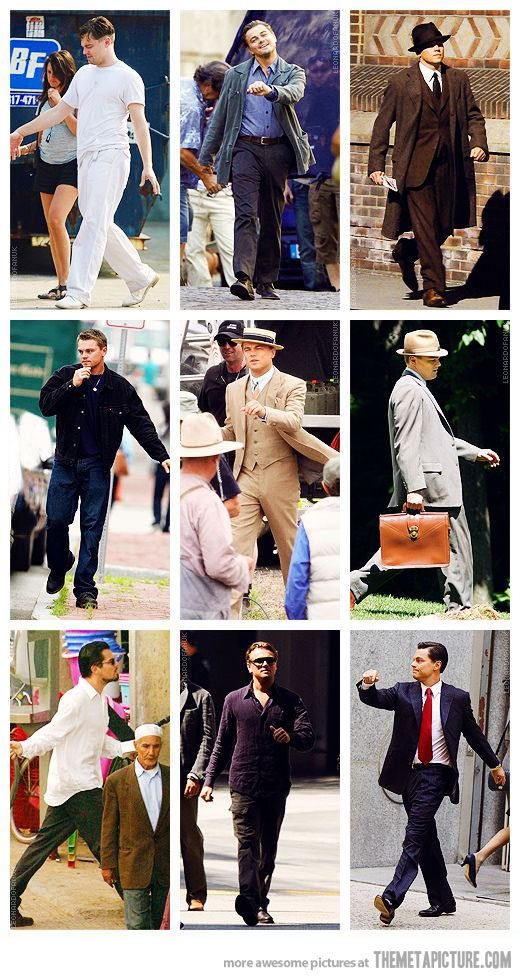 That's just how he walks apparently. Leonardo DiCaprio