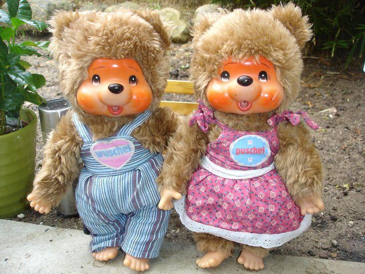 2 seltene Monchichi Monchhichi Puschel & Wuschel Bären Süss Vintage