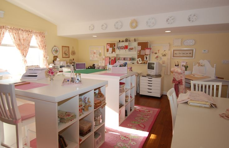 ~  Bunny Hill Studio ~ 2 cutting tables ~ pale yellow walls and touches of pink ~
