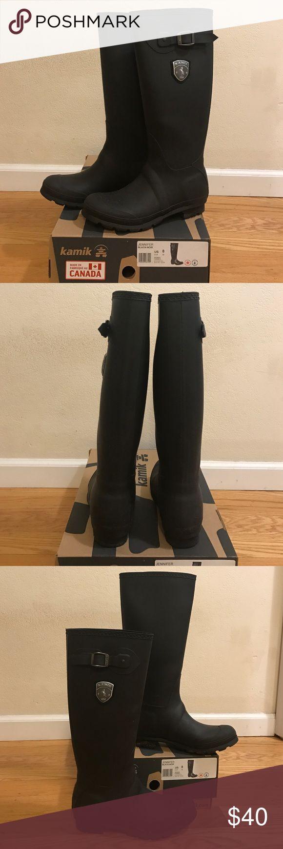 "Kamik rubber rain boot Kamik ""jennifer"" rubber rain boot in matte black. Worn a handful of times. Kamik Shoes Winter & Rain Boots"