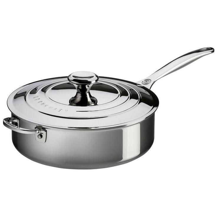 Le Creuset Stainless Steel 4.5-Quart Saute Pan with Lid & Helper Handle