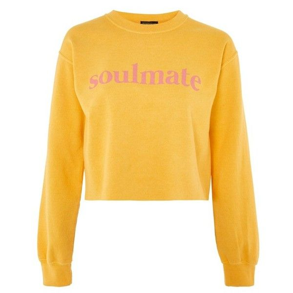 Women's Topshop Soulmate Graphic Crop Sweatshirt ($50) ❤ liked on Polyvore featuring tops, hoodies, sweatshirts, yellow top, graphic design sweatshirts, graphic tops, graphic print top and graphic sweatshirt