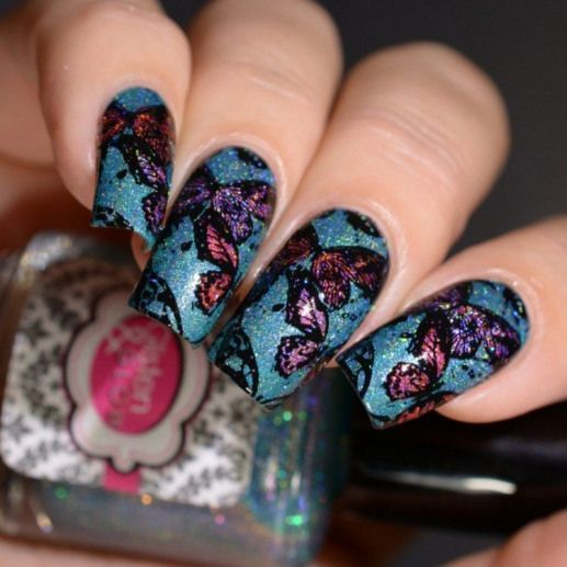 The Holo Hookup Oktober 2017 Gesellschaftstanz Glisten & Glow butterfly reverse sta   – Womens nails