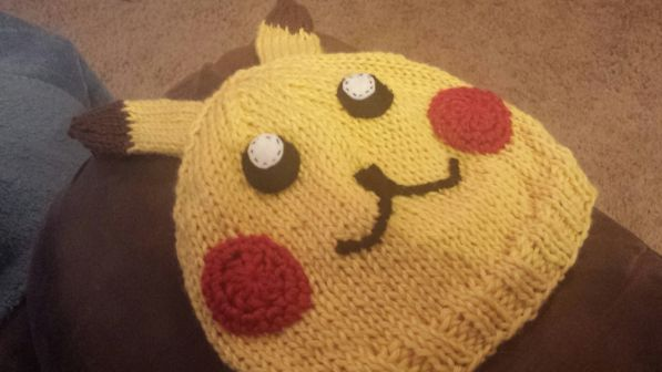 Knitted Pikachu hat