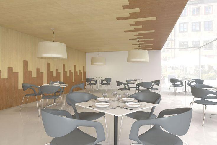Paneles de madera natural combinados que simulan un Skyline | raclima