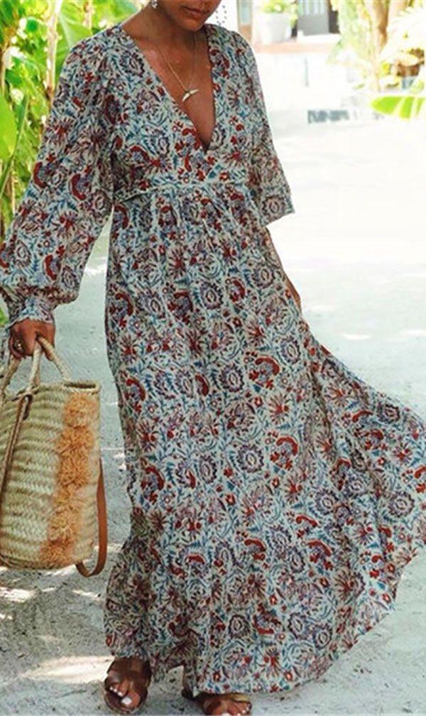 Hot Sale>>Plus Size Women Printed V Neck Fashion Maxi Dresses