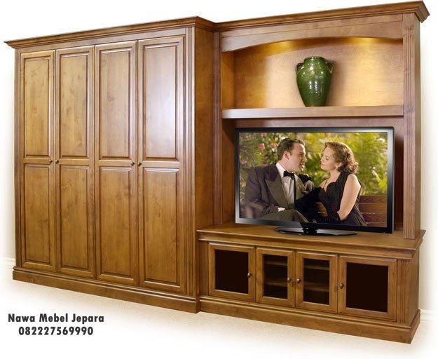 Almari 4 pintu Minimalis Dengan Rak Tv Terbaru, jual berbagai macam lemari dengan model minimalis dari furniture jepara, yang terbuat dari bahan yang solid dan elegan