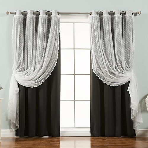 Rose Street Black Lace And Solid 52 X 84 In Blackout Window