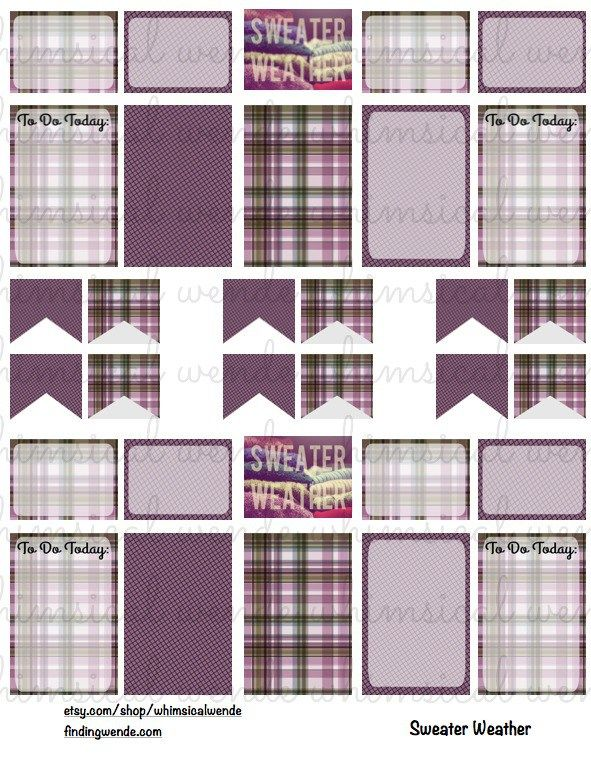 FREE Printable Planner Stickers Kit November Plaid Instant Digital Download Sweater Weather - Finding Wende