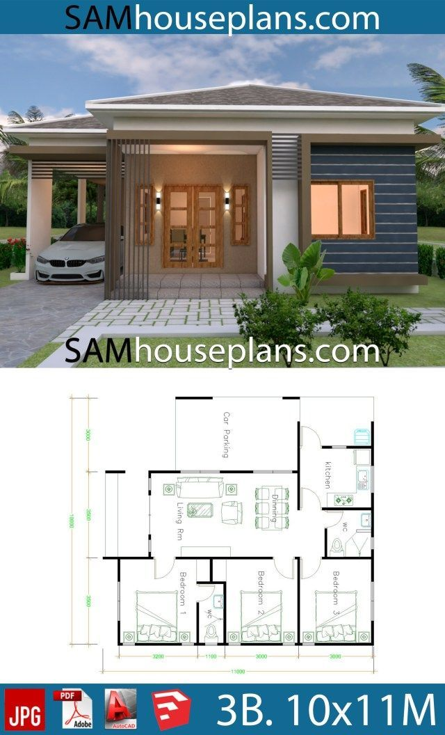 House Plans 10x11 With 3 Bedrooms Roof Tiles Sam House Plans In 2020 Unique House Plans Affordable House Plans Small House Plans