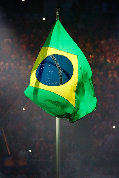 #RIO2016 The Brazil flag is raised during a performance at the Opening Ceremony of the Rio 2016 Olympic Games at Maracana Stadium on August 5 2016 in Rio de...