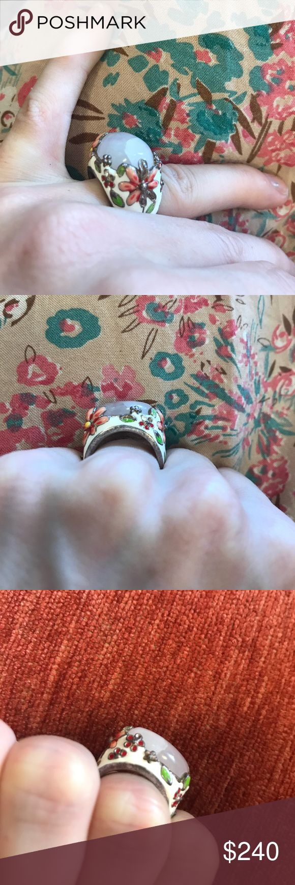 Signed Rose Quarts Enamel Real Silver Ring 925 So funky! Great condition. Bold real stone light pink ring. Enamel base with pink and red flowers. Signed with 925 Canada and SIGAT name inside band. No cracks. Vintage. Canadian. S00041125888542 Anthropologie Jewelry Rings