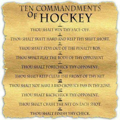 10 Commandments of Hockey: 10 Commandments, Hockey 3, Hockey Mom, Hockeymom, Hockey Commandments, Ten Commandments, Hockey Quotes, Hockey Life