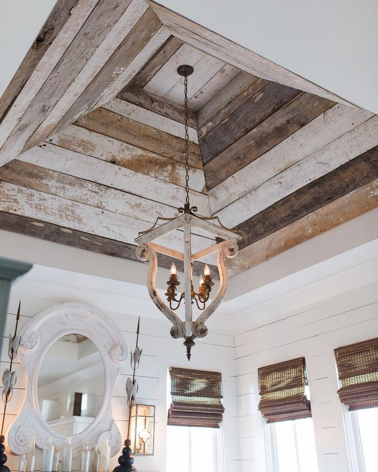 Reclaimed wood coffered ceiling.