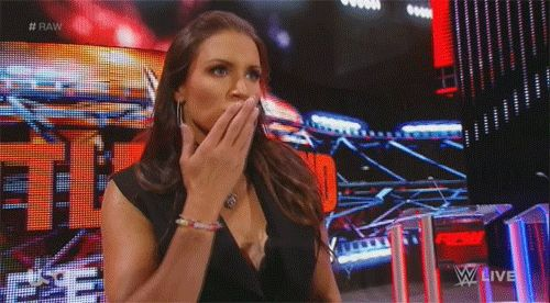 Stephanie McMahon blows a kiss gif animation - WWE Raw July 11 2016