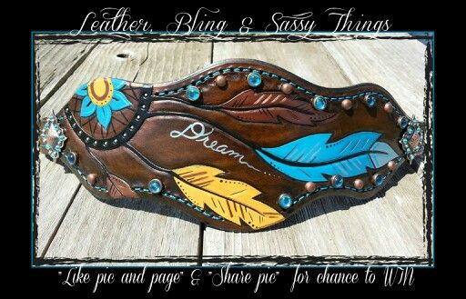 Find me on facebook for hand painted leather, bronc nosebands, hats, headbands, etc......