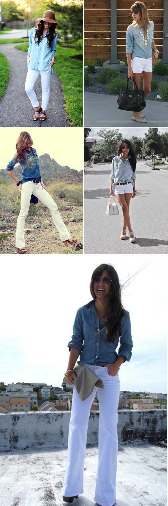 05 formas de combinar una camisa de jean con un pantalón o short blanco