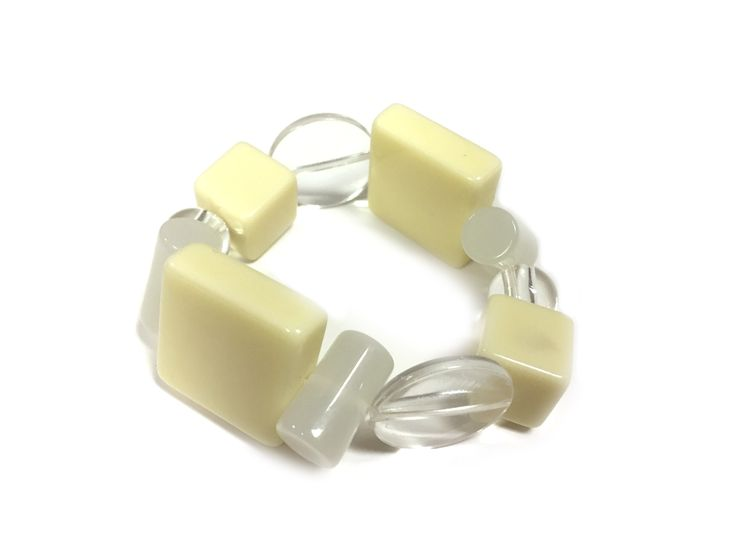 Cream cubes One Button bracelet #creamwhites #bracelet #accessories #onebutton Click to buy from the One Button shop.
