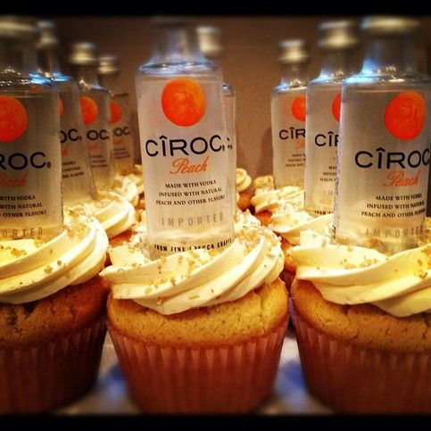 Infused with Peach Ciroc Premium Vodka. Topped with chewy peach fruit candy. And Peach infused frosting