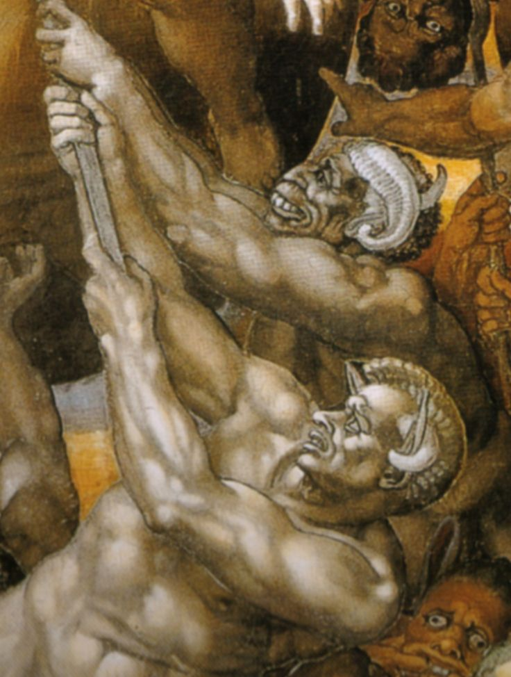 Michelangelo, Boat of Charon and the Damned with Minos (detail), The Last Judgment, 1534–1541, Sistine Chapel, Rome.