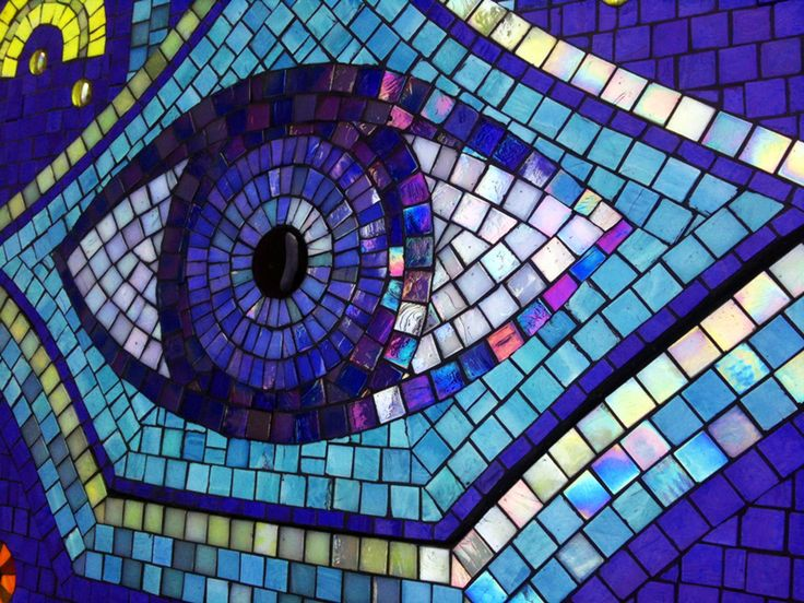Hamsa mosaic detail 4 polychromasia blue pinterest for Mosaic painting meaning