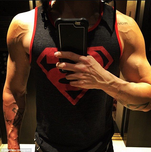 Bulking up: Jared Leto shared a snap in Instagram on Tuesday, showing off his muscular arms having been on a mission to gain weight for his new role as the Joker in Suicide Squad