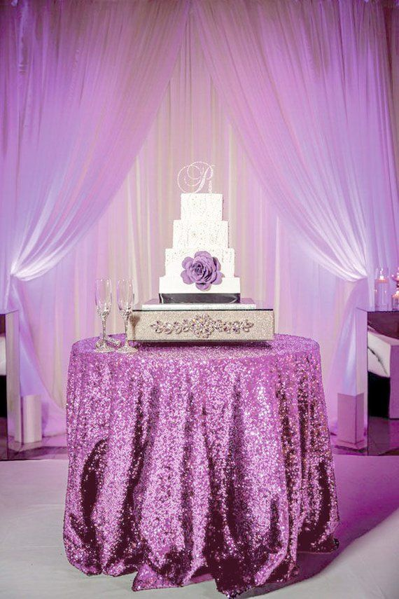 Lavender Sequin Tablecloth For 5ft Round Table Sparkly Sequined Table Overlay For Purple Wedding Cake Table Events Bridal Shower Decor Purple Wedding Cake Table Wedding Cake Table Purple Bridal Shower