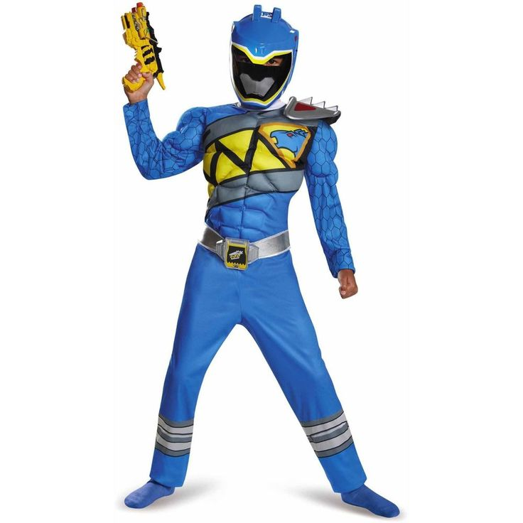 NWT Saban's Power Rangers Dino Supercharge Blue Ranger Muscles Costume L 10-12 #Disguise #CompleteOutfit