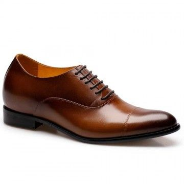 Look Taller 7CM Brown Wedding Dress height increasing shoes