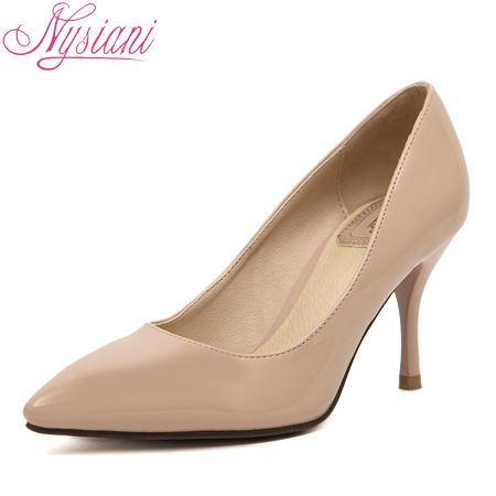 New arrival nude pointed toe high heels pumps shoes for women famous brand designer lady thin heels single shoes 7cm heels