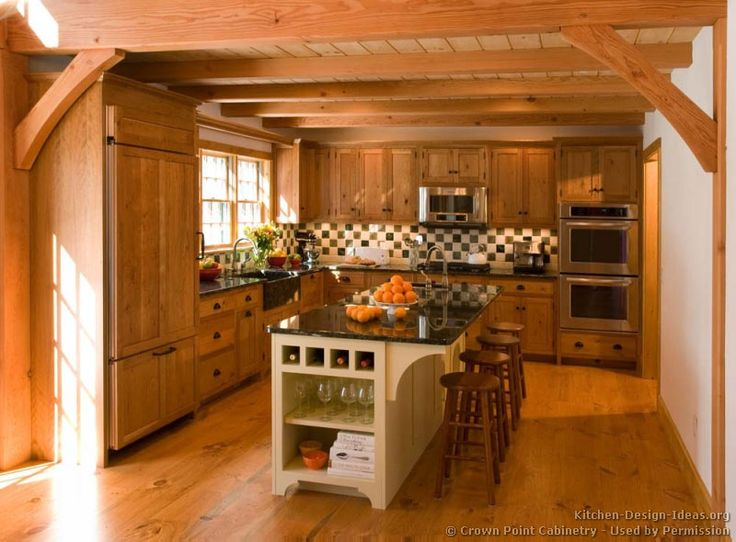#Kitchen Idea Of The Day: Early American Kitchens. (By Crown Point  Cabinetry. Log Cabin ...